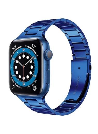 Wiwu Apple Watch 42mm Ultra Thin Steel Belt Three Beads Metal Kordon Mavi